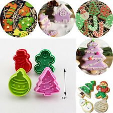 4x Xmas Snowman Cupcake Fondant Decorate Cookie Biscuit Plunger Cutter Mold Tool