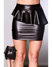 Latex (Faux) Look Black Peplum Mini Skirt