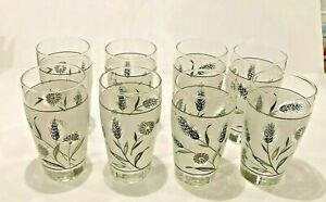 Mid Century Barware Vintage Set of 6 Libbey Silver Leaf frosted small wineapperatif glassesgoblets