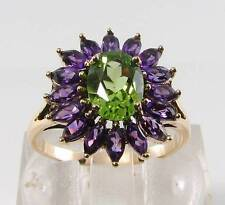 9K 9CT YELLOW GOLD PERIDOT AMETHYST CLUSTER ART DECO INS RING FREE RESIZE