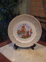 Stetson Medium Plate Windmill Pattern W/ Girl & Man 22k Gold Trim Stetson USA