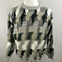 Protege TAG Sweater XLarge Mens Beige Black Striped Knit Vintage Cosby Pullover
