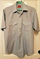 Vintage Plains Western Wear Mens Pearl Snap Short Sleeve Striped Shirt Medium
