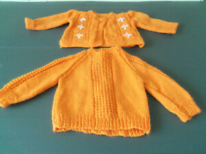 BABIES ORANGE HAND-KNITTED  CARDIGAN & JUMPER - BRAND NEW