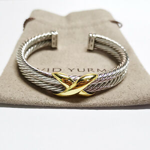 David Yurman X Crossover double Cable Rope Cuff 10mm (750)14K gold Bracelet