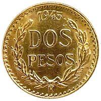 1945 MEXICAN GOLD DOS PESOS - GOLD MEXICAN 2 PESO .0482 AGW.  KM #461