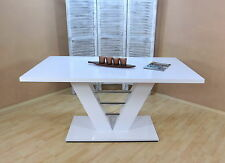 Esstisch Esszimmertisch Küchentisch Säulentisch Tisch Weiß-Hochglanz