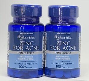 2 Zinc for Acne 100 Tablet Ea Clear Skin Formula Vitamins Zit Treatment Blemish