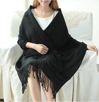 Womens black PASHMINA Silk Cashmere Wool Shawl Scarf Stole Long Fringe Wrap NEW