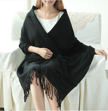 Womens black PASHMINA Silk Cashmere Wool Shawl Scarf Stole Long Fringe Wrap NEW