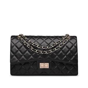 (SG) Lambskin Handbag Quilted Sheepskin Leather GoldStrap Double Flap Bag