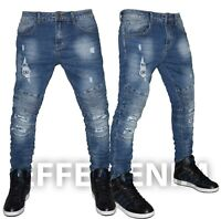 Jeans Uomo Biker Strappati Denim Pantaloni Elasticizzati Slim nuovo 318021