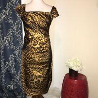 Tadashi Shoji Cheetah Animal Short Sleeve Sheath Cocktail Dress sz 4