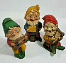 """3 Vintage 5"""" Hand Painted Ceramic Garden Gnomes Elves Playing Guitar, Harp 1979"""
