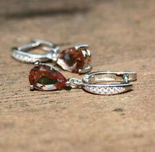 Color Change Diaspore Drop Earrings Sterling Silver 925 Cubic Zirconias Handmade