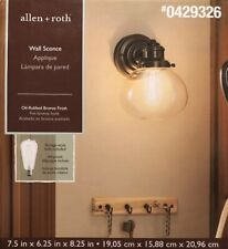 Allen and Roth Wall Sconce (OIL RUBBED BRONZE) Finish Clear glass shade