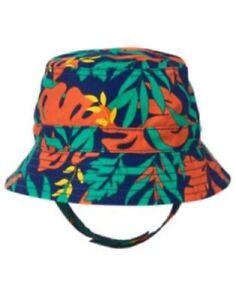 GYMBOREE SUNSET GLOW GREEN & ORANGE LEAF PRINTED BUCKET HAT 0 6 12 NWT