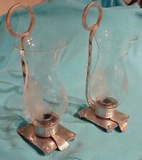 PAIR (2) VINTAGE BUENILUM HAND FORGED HAMMERED ALUMINUM WALL CANDLE SCONCES