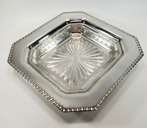 Vintage Silver Plate Butter Dish Nut Relish Tray With Glass Insert ~ BEAUTIFUL!!