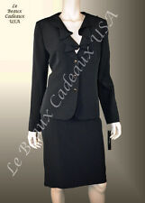 TAHARI Women Skirt Suit SIZE 16 BLACK Two-Piece CASCADE Knee Dressy $280 LBCUSA
