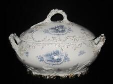 Rosenthal R1649 Antique Scalloped Blue, People in Center, Soup Tureen & Lid