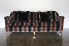 "Huge Sublime Duresta ""Trafalgar"" 3-Seat Sofa in ""Velutti Stripe"" Velvet Fabric"