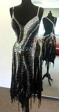 Woman Ballroom Latin Rhythm Salsa Rumba Dance Dress US 8 UK 10 Black Sliver