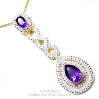 Großer echter 2,0ct Amethyst Diamant Anhänger 585er Gold auf 925er Silber