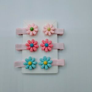 Baby hair clip Set Hair clips for Girls - Pastel Flowers