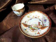 ancienne tasse porcelaine de meissen  paysage  port bateaux rehauts or fin 18eme