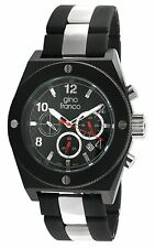 NEW Gino Franco 9657BK Men's Marathon Black Dial Two-Tone SS Rubber Link Watch