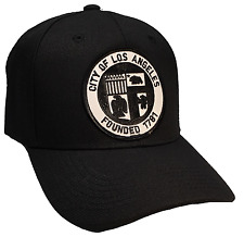 City Of Los Angeles Founded1781Hat Color All Black Patch Black White  Adjustable