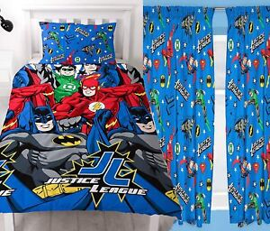 "Justice League Inception Single Duvet Set and Matching 66"" x 72"" Drop Curtains"