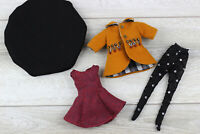 Blythe doll outfit dress Headdress black tights yellow coat accesories clothes