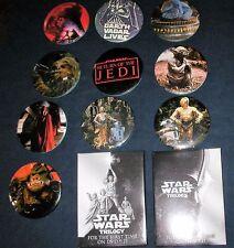 12 Star Wars Button Pins 1983 & 2004 Set Trilogy Silver Movie DVD Promo Pinback