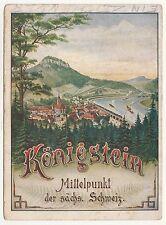 Karte Königstein Sächsische Schweiz Eisenbahn Fahrplan Dresden Tetschen 1904 !