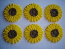 large edible sunflower cake decorations / cupcake toppers x 6