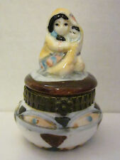 Porcelain Trinket Box South West Motif Of Women Holding Baby Wrapped In Blanket