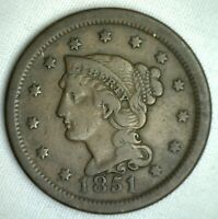 1851 Braided Hair Large Cent Copper US Type Coin FINE Genuine US Penny M26