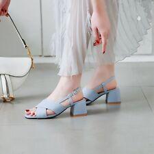 Ladies Med Block Heels Slingbgack Sandals Casual Open Toe Cross Strap Shoes Size