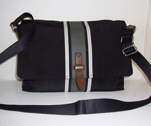 Fossil Kent Black with Gray & Bone / Khaki Stripe Messenger Shoulder Bag
