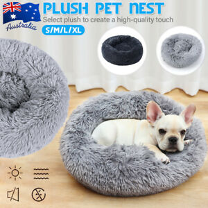 Pet Bed Cat/Dog Donut Nest Calming Mat Soft Plush Kennel Cave Deep Sleeping