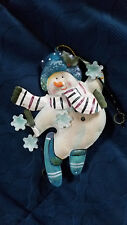ONE (1) METAL 'SNOWMAN on SKIS' ~~ 3-D ~~ HOLIDAY/CHRISTMAS ORNAMENT