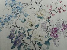 Sanderson Curtain Fabric 'Magnolia & Blossom' 3 METRES Amethyst/Silver - Linen