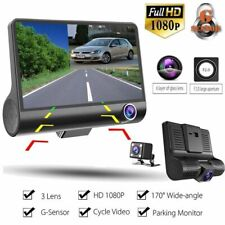 "3 Lens Car DVR Camera Vehicle Video Recorder Dash Cam 4"" LCD Full HD 1080P CCTV"