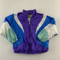 Vintage 80s Santiago Sporta 1541 Men's Purple Color Block Nylon Track Suit Large