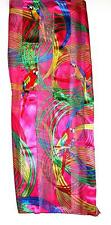 SCARF Red Blue Green Yellow On Fuchsia Pink Background Parrots MACAWS