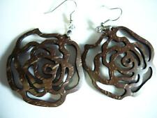 Natural Coconut Shell Flower Shape Pair Dangling Earrings w/ Hooks # 33246-5