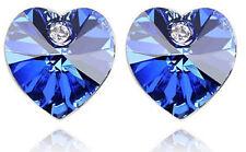 Elegant Royal Blue Sapphire Hearts Crystal Studs Earrings E261