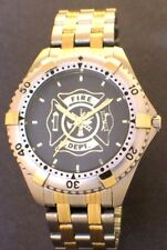 LADIES MEDALLION DIAL FIREFIGHTER  WATCH - STEEL/GOLD